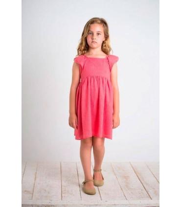 Robe petite fille á couleur corail BOSSA KIDS