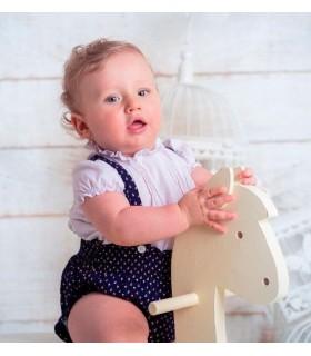 Ensemble bébé garçon salopette bleue marine et chemise blanche BOSSA KIDS