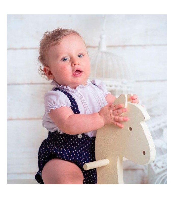 Conjunto peto azul marino con blusa blanca bebe BOSSA KIDS