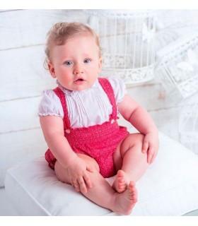 Ensemble bébé garçon chemise et salopette rouge BOSSA KIDS