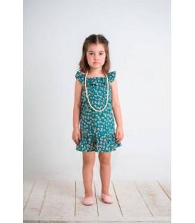 Vestido verde flores de niña BOSSA KIDS