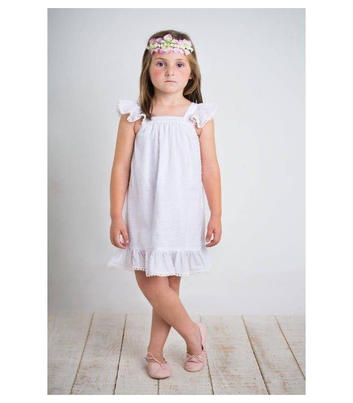 Vestido blanco plumetti niña BOSSA KIDS
