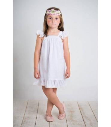 Robe petite fille blanche plumetti BOSSA KIDS