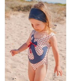 Maillot de bain marin étoiles rouge avec une ancre petite fille ROCHY