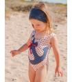 Bañador niña Marinera estrellas rojas y ancla ROCHY
