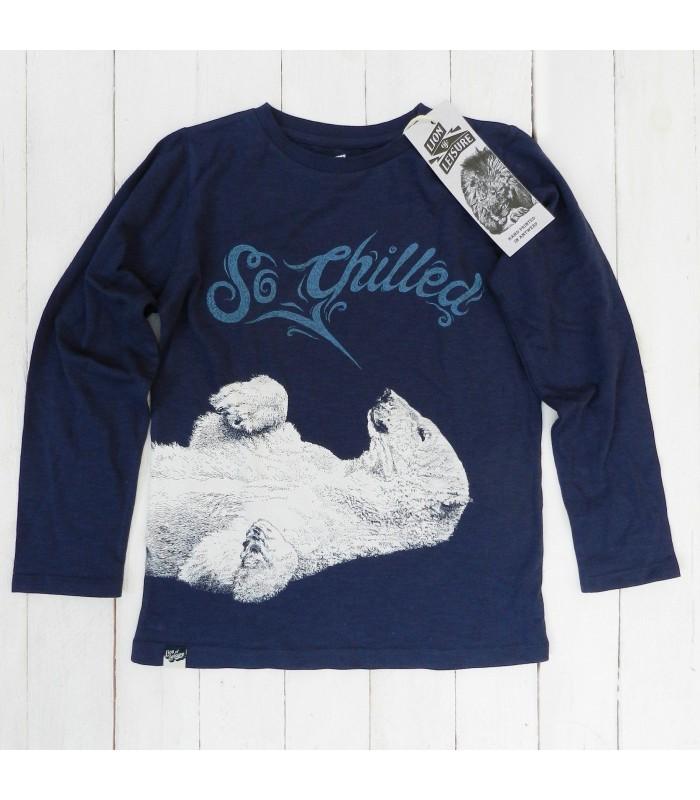 Camiseta manga larga unisex 100% algodón orgánico oso polar de Lion of Leisure