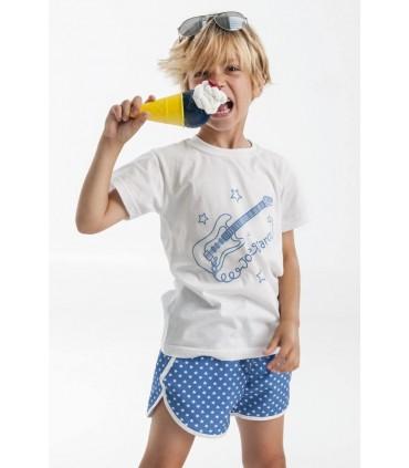 Set de baño para niño: Camiseta blanca y bañador azul José Varón