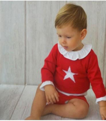 Conjunto bebé rojo estrella niño de Ancar