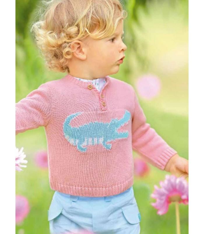Conjunto niño FOQUE jersey rosa con cocodrilo y shorts verde agua marina