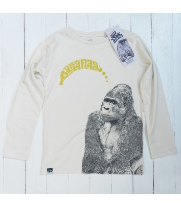 Camiseta manga larga unisex 100% algodón orgánico Gorila de Lion of Leisure