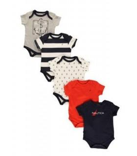 Nautica Baby Boys 5 Pack Bodysuits