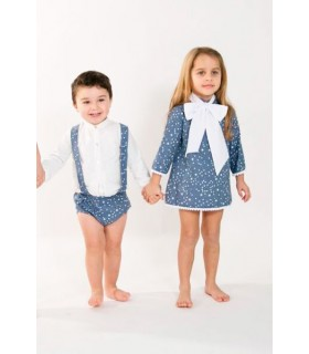 Conjunto niño pequeño peto estrellas y camisa blanca BABY YIRO