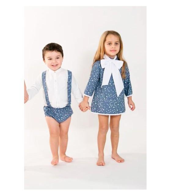 bdd12cb5d Conjunto niño pequeño peto estrellas y camisa blanca BABY YIRO ...