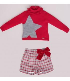 Ensemblé petite fille gris et rouge ETOILLE CESAR BLANCO