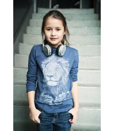 Camiseta manga larga unisex 100% algodón orgánico cabeza de león de Lion of Leisure