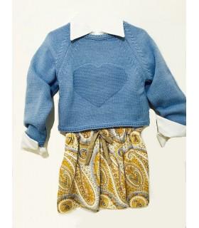 Conjunto niña vestido camisero con jersey azul de ANCAR