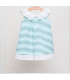 FINA EJERIQUE GIRL GREEN STRIPES DRESS