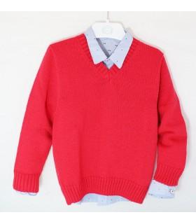 """Jersey rojo cuello pico niño """"CEREZO"""""""