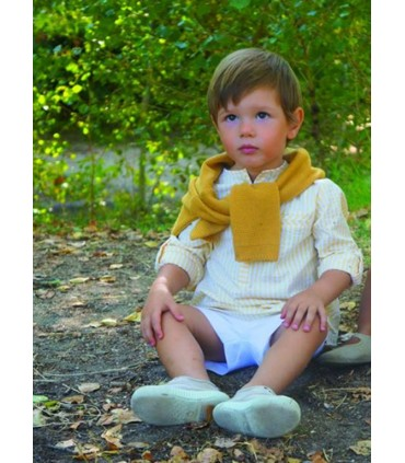 ANCAR YELLOW STRIPES SHIRT AND SHORTS SET
