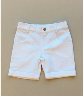 "CESAR BLANCO boy´s white shorts ""AMARANTO"". boy online outfits"