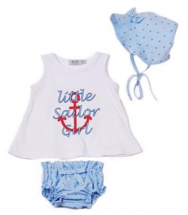 "JOSE VARON BABY GIRL BATH SET ""ANCHOR"""