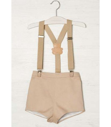 PILAR BATANERO BABY BOY SHORTS with suspenders CAMEL