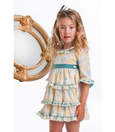 JOSE VARON GIRL DRESS Yellow AND GREEN WITH SLEEVES
