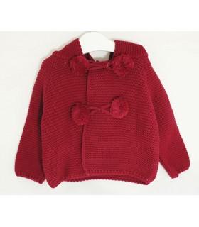 Baby hoodie jacket Dark red colour MARTA Y PAULA