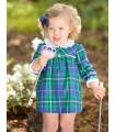 FOQUE BLUE AND GREEN CHECKED GIRLS DRESS