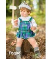 FOQUE BABY GIRL SET BLUE CHECKED OVERALLS