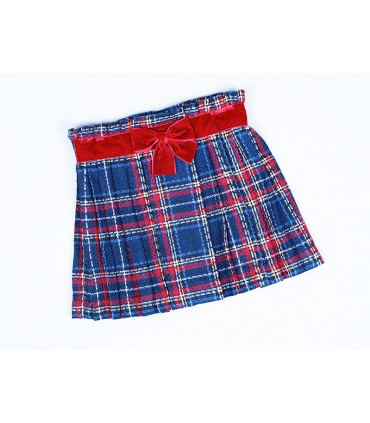 CESAR BLANCO GIRLS CHECKED SKIRT