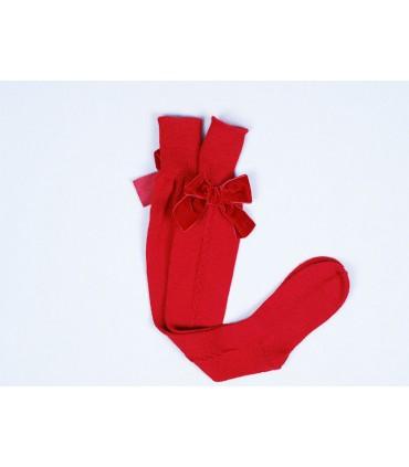 CESAR BLANCO GIRLS RED LONG SOCKS