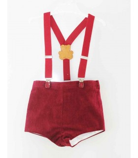 PILAR BATANERO BABY BOY SHORTS with suspenders RED