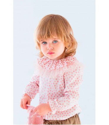 NUECES KIDS BABY PINK DOTS SHIRT