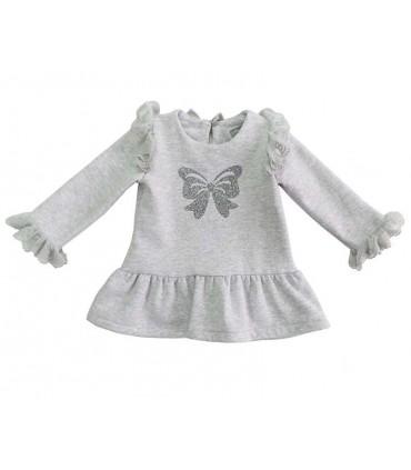 MON PETIT BONBON GIRLS GREY KNITTED DRESS