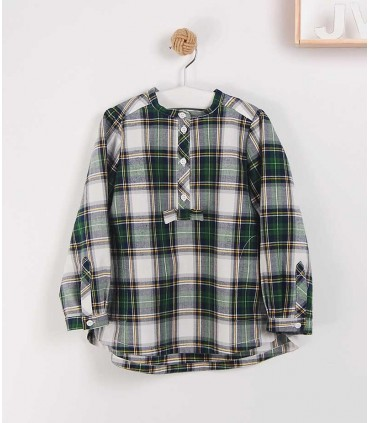 JOSE VARON GREEN CHECKED GIRLS SHIRT