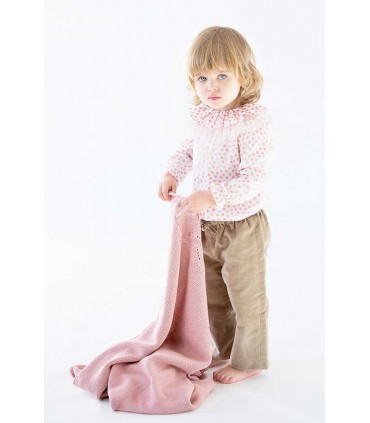 NUECES KIDS GIRLS BEIGE TROUSERS