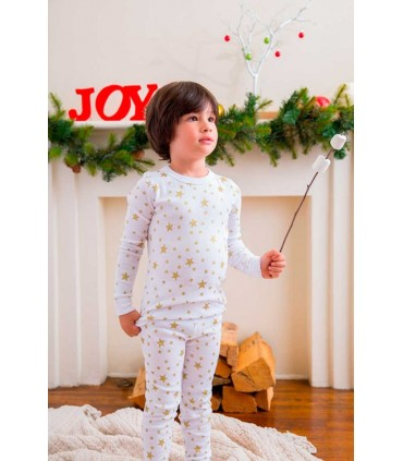 SKYLAR LUNA LONG SLEEVES WHITE PAJAMA GOLDEN STARS