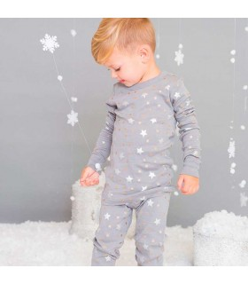 SKYLAR LUNA LONG SLEEVES GRAY PAJAMA SILVER STARS