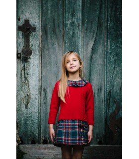 CESAR BLANCO RED CHECKED DRESS