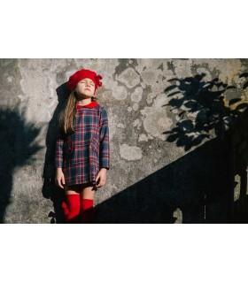 CESAR BLANCO GIRLS CHECKED DRESS