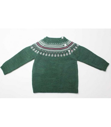 MARTIN ARANDA BABY BOY JACQUARD GREEN SWEATER