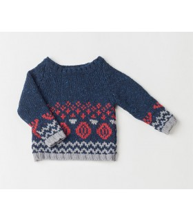 FINA EJERIQUE RED AND BLUE SWEATER