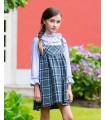 KIDS CHOCOLATE GIRL PINAFORE DRESS TARTAN