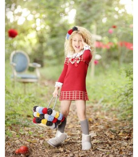 FOQUE GIRLS RED KNITTED DRESS