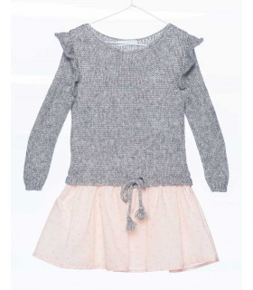PLUMETI RAIN GIRLS KNITTED DRESS GREY