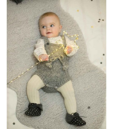 PLUMETI RAIN BABY GREY KNITTED OVERALLS and BLOUSE
