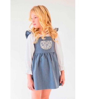 "NUECES KIDS GIRLS BLUE DRESS ""AGATA"" AND BLOUSE"