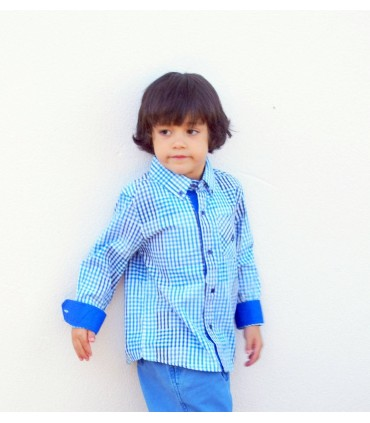 Camisa a cuadros azules Niño Andy & EVAN