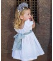ROCHY GIRLS WHITE DRESS GREY RIBBON